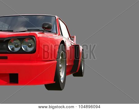 Red sports coupe. Red race car. Retro race. Japanese School tuning. Uniform gray background. Three-d