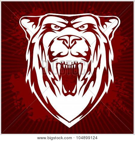 White bear head - vector emblem.