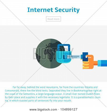 Internet Security Vector Illustration In Flat Infographic Style. Data Protection Against Theft.