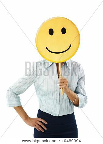 Businesswoman With Emoticon