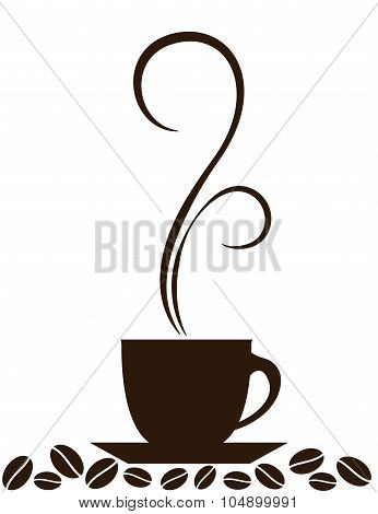 Silhouette of coffee cup with steam