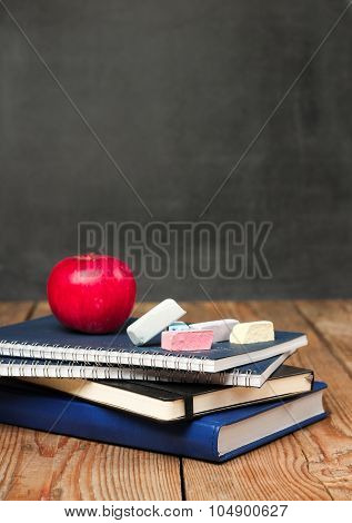 Chalk Pieces, Notebooks And Apple