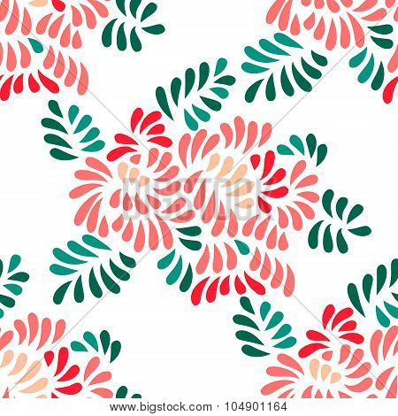 Pastel colored stylized peony flowers and leaves seamless pattern, vector