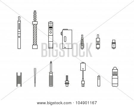Vaping Outline Icon Set