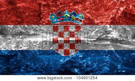 Flag of Croatia, Croatian flag painted on stone texture