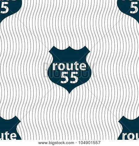 Route 55 Highway Icon Sign. Seamless Pattern With Geometric Texture. Vector