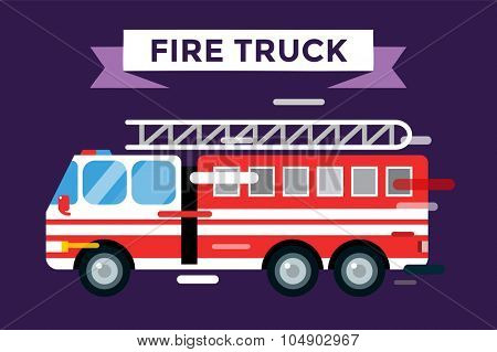 Fire truck car isolated. Fire truck vector cartoon silhouette. Fire truck mobile fast emergency service. Fire truck fast moving. Fire truck vector illustration.Vector rescue fire truck.Emergency truck