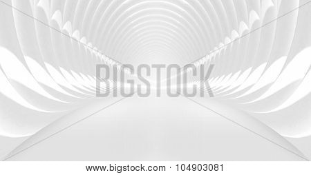 Sshining White Tunnel Interior. 3D Illustration