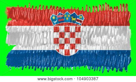Flag of Croatia, Croatian flag painted with brush on solid background, pint texture.