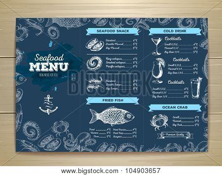 Vintage Seafood Menu Design. Document Template