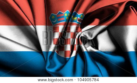 Flag of Croatia, Croatian flag painted on silk texture