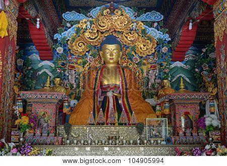 Big Buddha Statue Inside A Buhtanese Temple