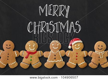 Christmas Card With Gingerbread Men