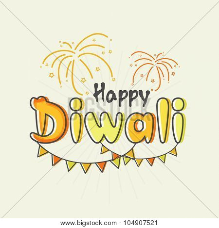 Colourful text Happy Diwali with party flags on fireworks background for Indian Festival of Lights celebration.
