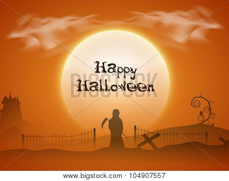 Happy Halloween Party celebration with scary ghost holding axe on horrible night background.