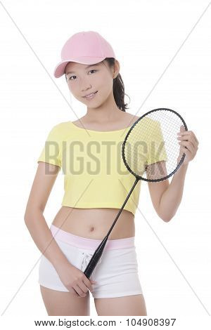 Beautiful Asian Woman Holding A Badminton Racket Isolated On White Background