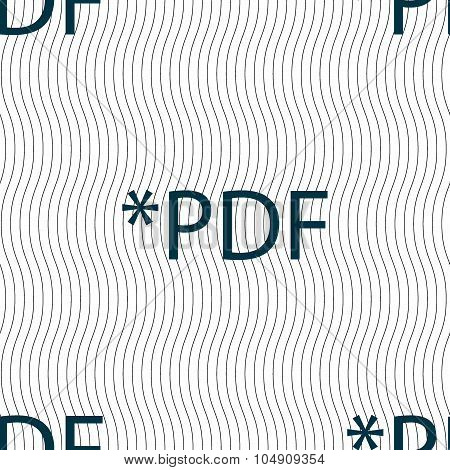 Pdf File Document Icon. Download Pdf Button. Pdf File Extension Symbol. Seamless Pattern With Geomet