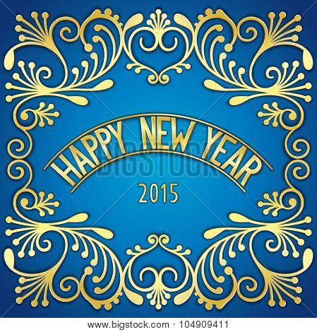 Happy New Year golden signboard