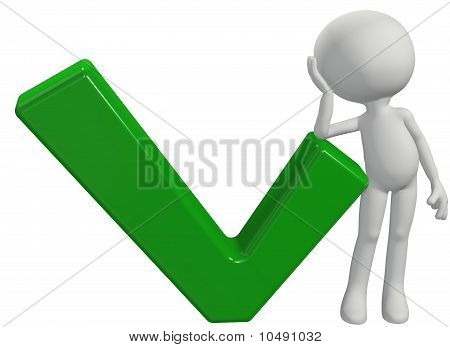 Cartoon 3D Person Leans On Ok Check Mark