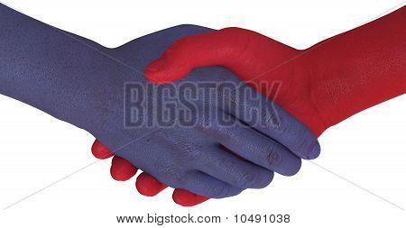Widerstand Seiten Shake Hands Stimmen Kompromiss