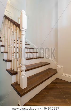 Wooden Stairs With Railing