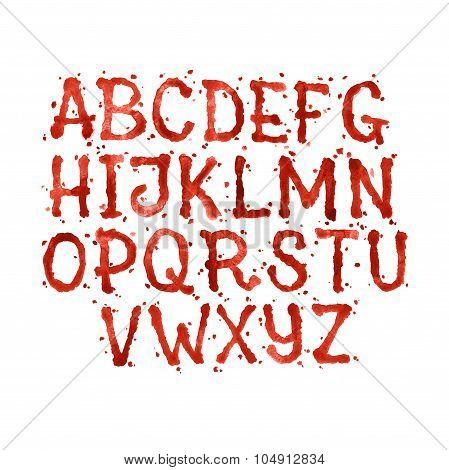 Watercolor aquarelle font type handwritten hand drawn doodle abc alphabet blood and blots stain spla