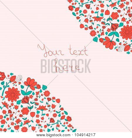 Flowers text placeholder corner vector