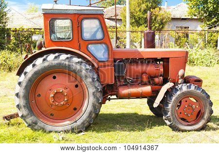 Red tractor closeup