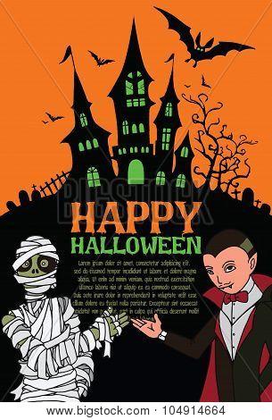 Halloween poster. Halloween vector background