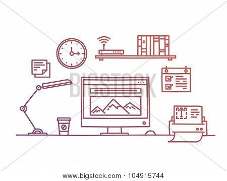 Hand drawn office workspace minimalistic linear style concept website programming process designer w