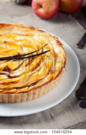 French apple tart with vanilla pod
