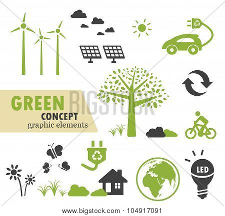 Green Ecology Icons Set For Green Concept