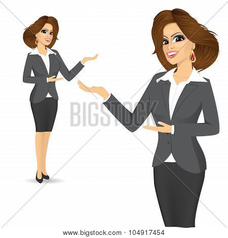 cute business woman showing something