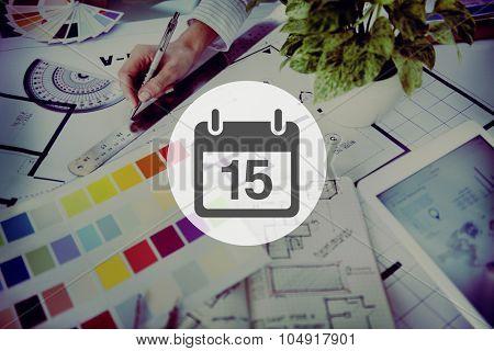 Fifteenth Appointment Memo Schedule Calendar Plan Concept