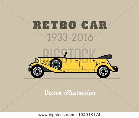 Retro limousine cabriolet car, vintage collection