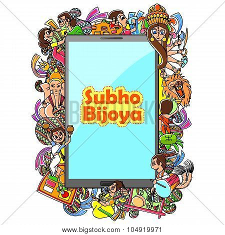 Subho Bijoya doodle drawing for mobile application