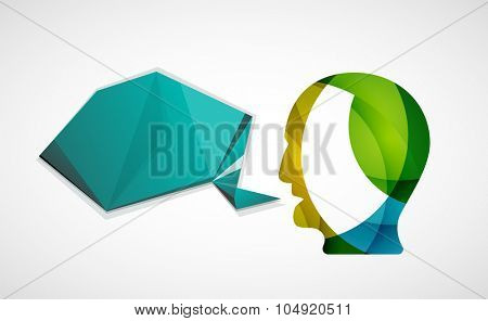 Human head with origami blank speech bubble. Modern abstract communication concept