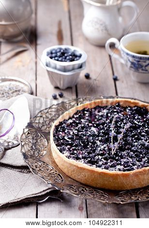 Blueberry, bilberry tart with lavender
