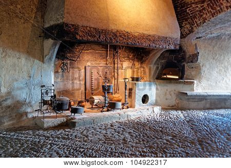Ancient Houseware Displayed In The Castle Of Gruyeres In Switzerland