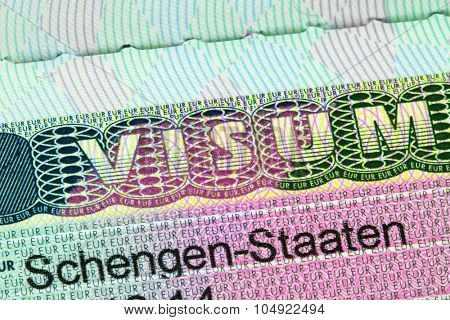 ACHENKIRCH, AUSTRIA : APRIL 2015 : Closeup of the Schengen visa to Europe with shallow DOF, focusing on the word VISUM, in Achenkirch, Austria on April 07, 2015