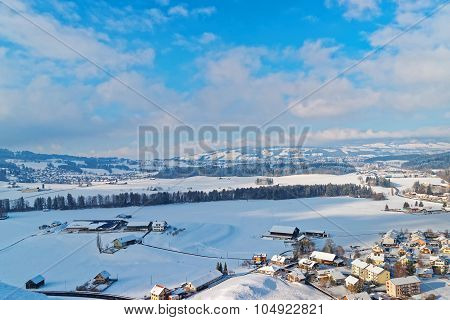 Beautiful Winter Landscape Of Gruyeres, Switzerland