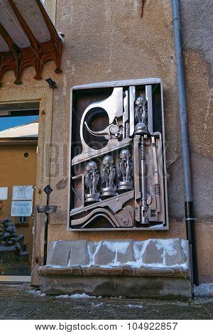 Birth Machine Sculpture In Front Of Giger Museum In Gruyeres