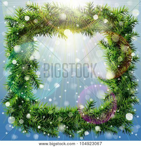 Christmas Square Wreath With Overhead Lighting And Snowfall