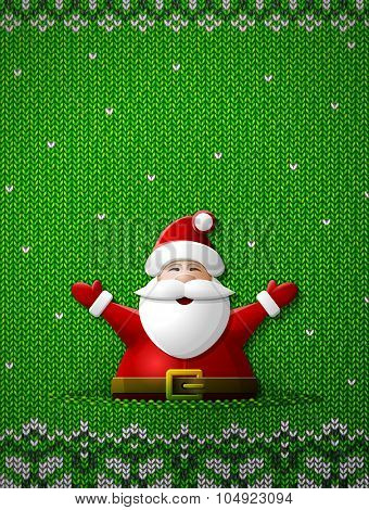 Santa Claus With His Hands Up On Knitted Background