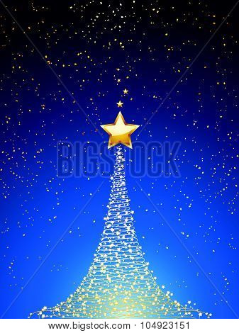 Christmas Tree Over Blue Portrait