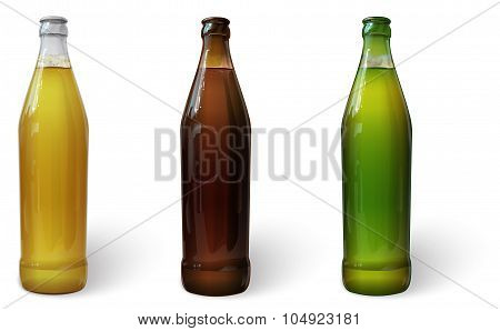 Glass bottles of beer of different colors