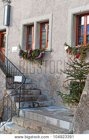 Fragment Of The Building In The Town Of Gruyeres Decorated For Christmas