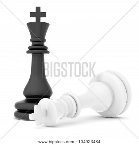 The fallen chess piece lying on white background