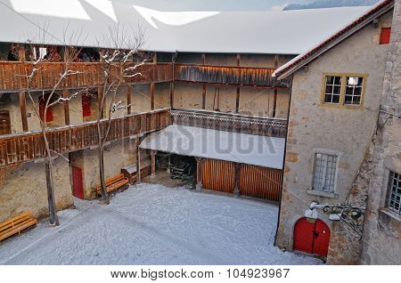 Homy Looking Inner Courtyard Of The Castle Of Gruyeres
