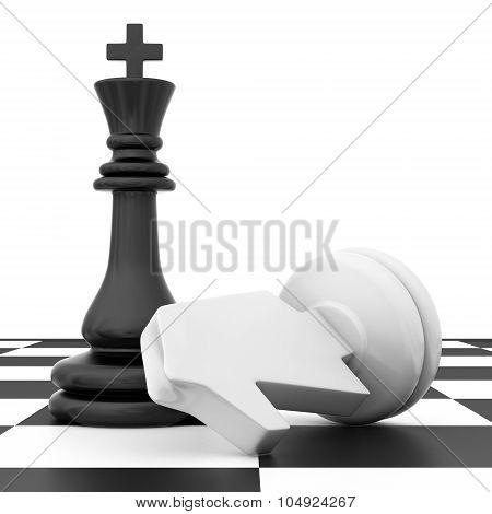 The fallen knight chess piece lying on chessboard